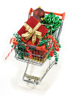 Christmas presents on a shopping trolly